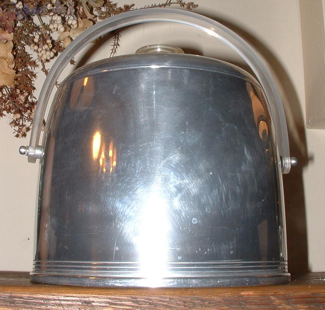 Vintage Mid-Century Deco Kromex Ice Bucket with Lucite Handle