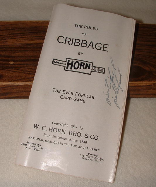 Antique Horn Wooden Cribbage Board No. C 36, Circa 1937