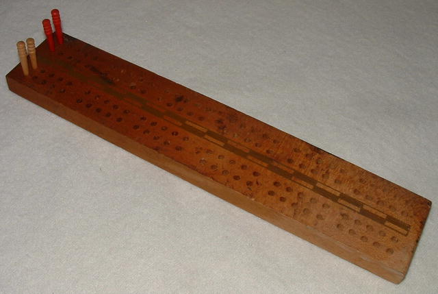 Small  9.5 by 2 Inch Vintage Wooden Cribbage Board