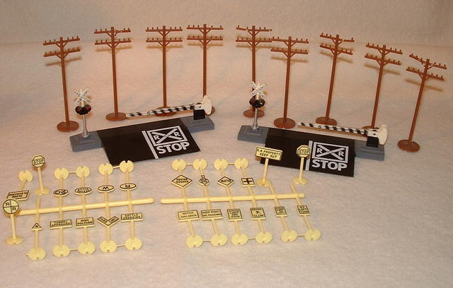 Vintage HO Gauge Bachmann Steel Train Track, Signs, & Telephone Poles