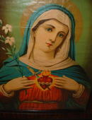 Antique Framed Mary of the Sacred Heart Traditional Catholic  Print