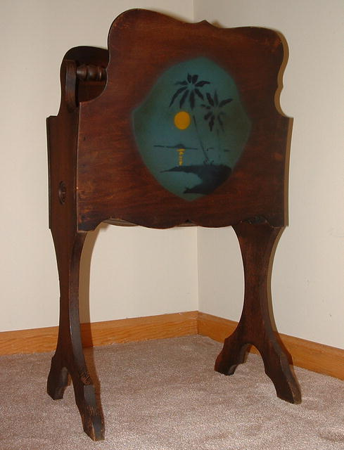 Antique Wood Magazine Stand with Tropical Stencil