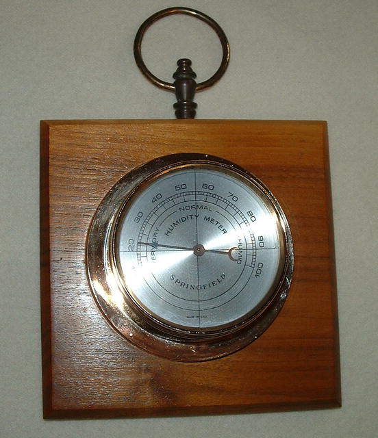 Vintage Springfield Humidity Meter on Hardwood Plaque
