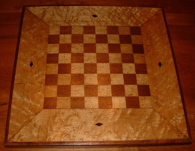 Antique Hand-Made Inlaid Birdseye Maple Chess Board
