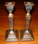 Vintage Egyptian Hieroglyph Cast Metal Candlestick  Holders