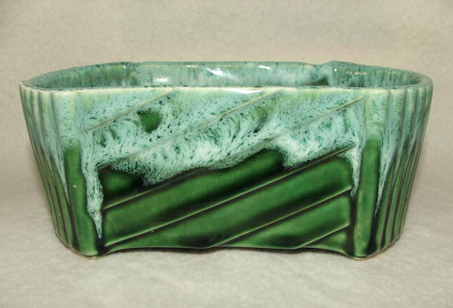 Vintage UPCO Pottery Green Drip Glaze Planter