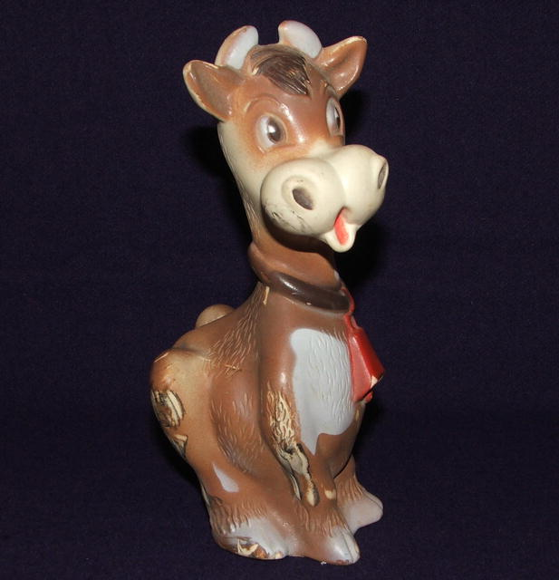 Vintage Rubber Squeaky Cow Toy