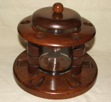 Vintage Round Walnut & Glass Humidor Pipe Stand
