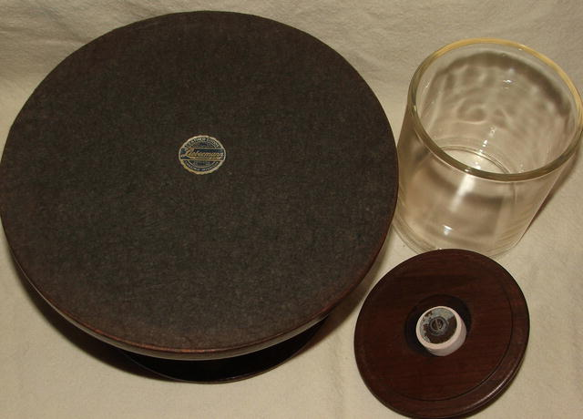 Vintage Round Walnut & Glass Humidor Pipe Stand