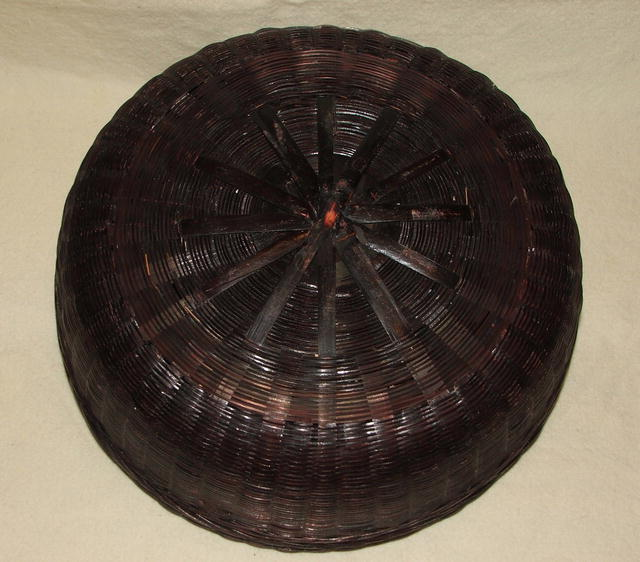Large Antique Chinese Sewing Basket Filled With Buttons