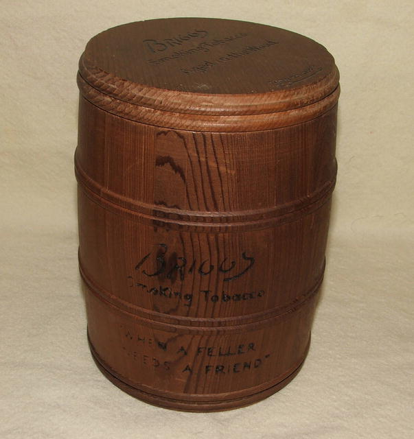 Vintage / Antique Briggs Smoking Tobacco Wood Humidor Keg