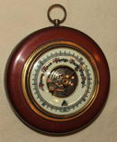 Vintage / Antique Round German Pic Barometer in Cherry, Brass, Glass