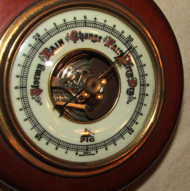 Vintage / Antique Round German Pic Barometer in Cherry, Brass, Glass