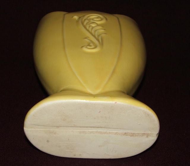 Vintage / Antique Yellow Art Deco Pottery Vase