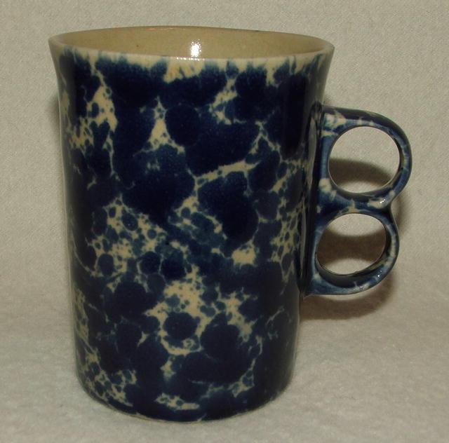 Vintage Bennington Potters Blue Agate Spongeware Trigger Mug - Gil