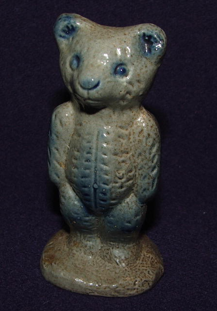 Beaumont Pottery Salt Glaze Cobalt & Gray Bear Figurine