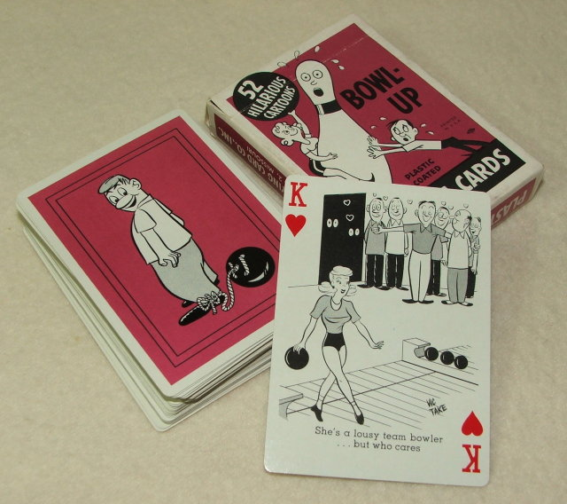 Vintage Bowl-Up Bowling Cartoon Playing Cards