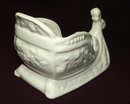Vintage / Antique White Glazed Pottery Sleigh Planter