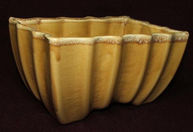Mid-Century Gold Drip Glaze Scalloped Planter - CP USA