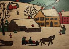 Vintage Folk Art Winter Scene Painting on Wood