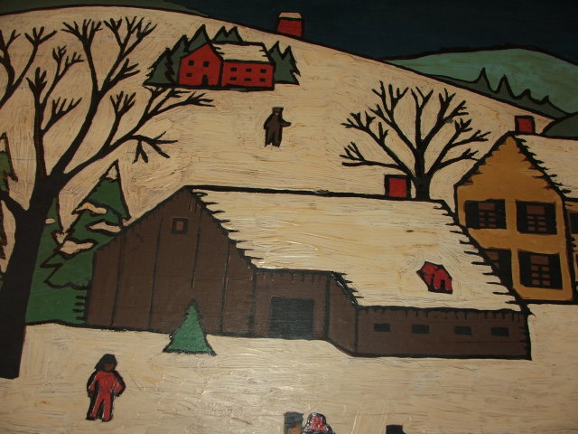 Vintage Folk Art Winter Scene Painting on Wood
