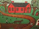 Vintage Folk Art Farm Painting on Wood