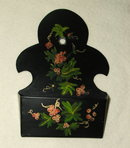 Vintage / Antique Tole Painted Metal Wall Pocket