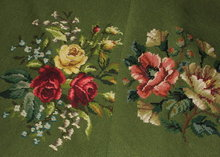 Set of 7 Floral & Green Needlepoint Seat Covers
