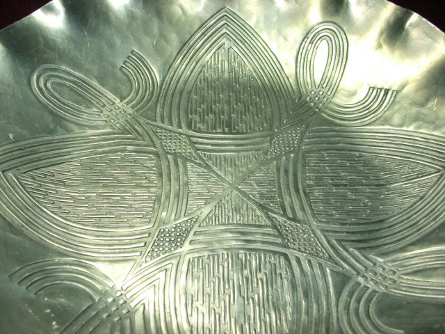 Vintage Canterbury Arts Hammered Aluminum Celtic Knot Dish