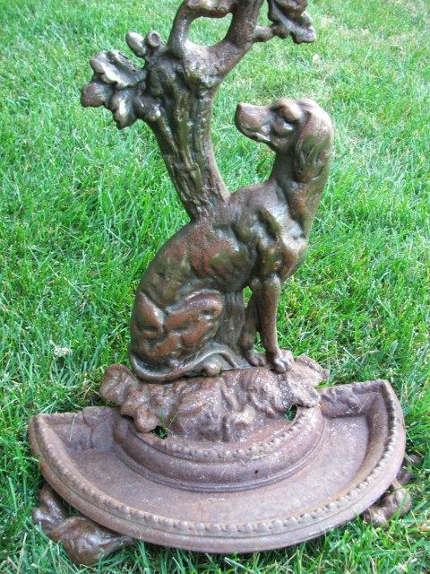 Antique Cast Iron Figural Dog Umbrella Stand