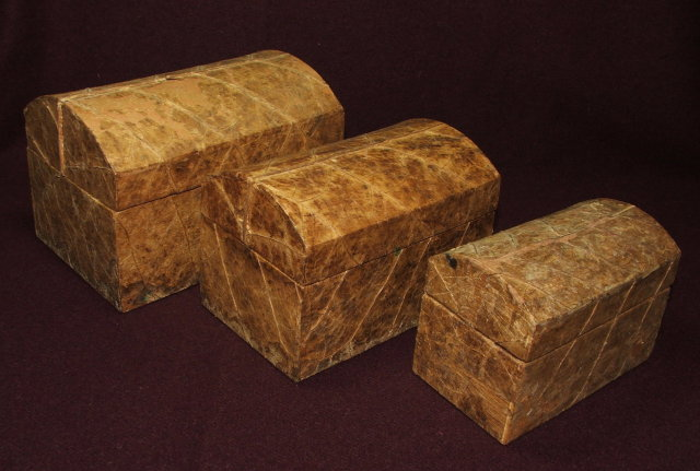 Set of Three Antique Nesting Hump-Backed Boxes