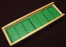 Vintage Green Domino Set  in Wood Box From Germany