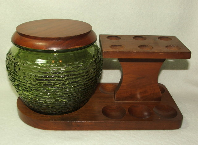 Vintage Walnut and Green Glass Humidor and Pipe Rack