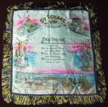 1950s Vintage St. Ignace Michigan Souvenir Pillow Sham