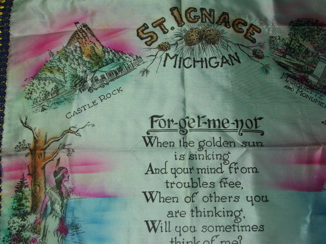 1950s Vintage St. Ignace Michigan Souvenir Pillow Sham