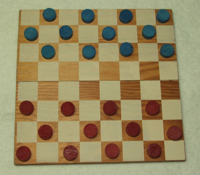 Vintage 1940's Pocket Size Wooden Checkers Set in Box