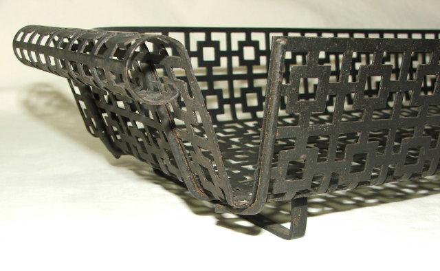 Mid-Century Retro Asian Influence Wrought Iron Basket Tray