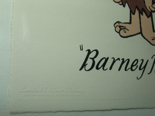 Limited Edition Hanna Barbera Barney Rubble Etching