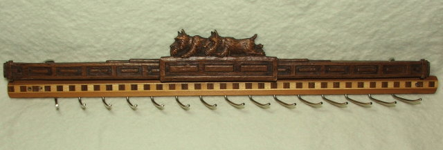 Vintage Scottie Dogs and Wood Marquetry Tie Rack