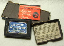 1934 Carborundum Co Aloxite Safety Blade Hone, Box, Sharpening Stone