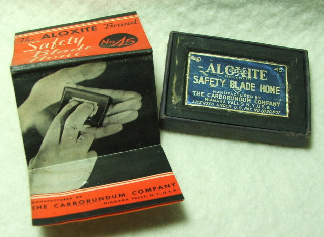 1934 Carborundum Co Aloxite Safety Blade Hone, Box, Sharpening Stone