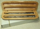 Vintage Embossed Pewter Pen Set in Natural Wood Case
