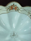 Nippon Noritake Fluted Nut Dish - Peach and Cream Blossoms