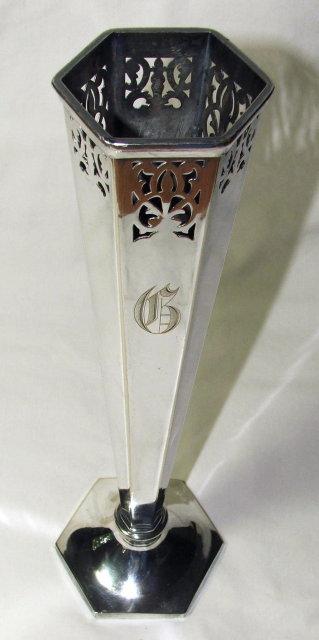 Vintage / Antique Sheffield Pierced Silver Metal Vase