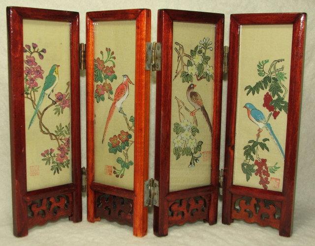 Vintage Miniature 6.75 Inch Japanese Folding Screen