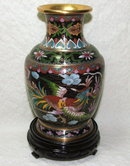 Asian Cloisonne Dragon & Bird Vase on Stand