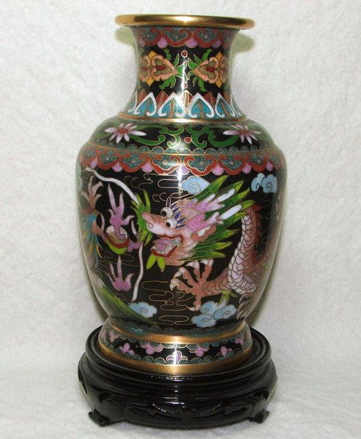 Asian Cloisonne Dragon & Bird Vase on Stand