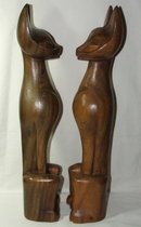 Antique Carved Mahogany Eqyptian Cat Figures