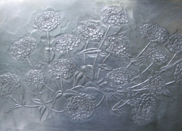 Large Vintage Wendell August Forge Aluminum Chrysanthemum Tray