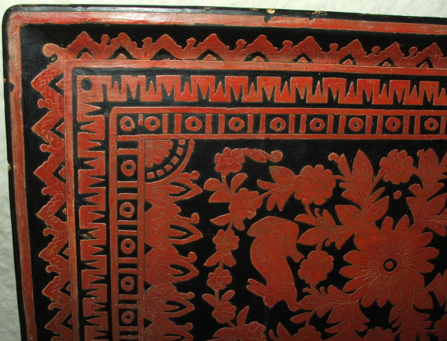 Vintage Mexican Folk Art Carved Wood Tray